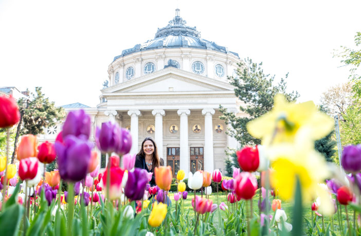Flower garden at the Romanian Athenaeum (Ateneul Roman)